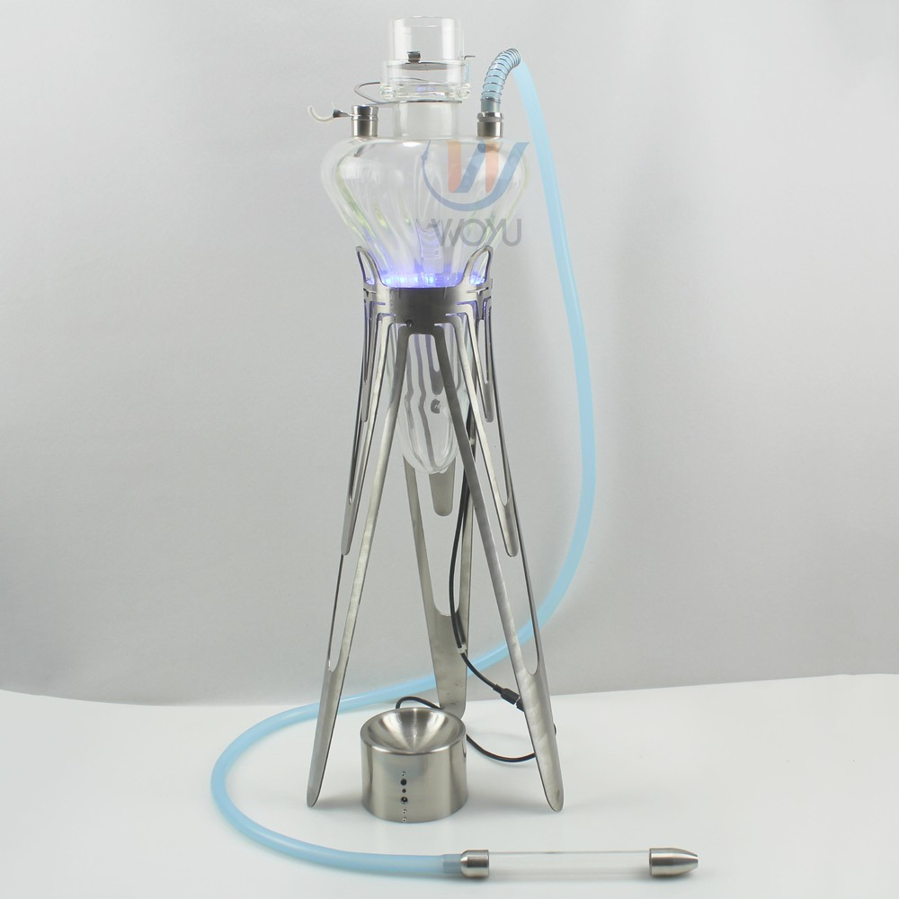 High-end deluxe glass shisha stainless steel stand led light hookah