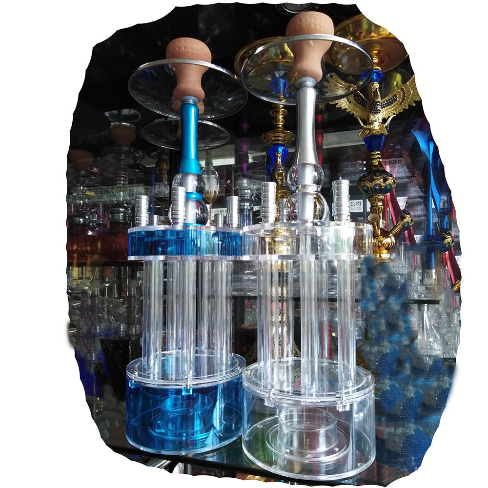 All acrylc hookah 4hose sharing shisha smoking set bongo smoke with light