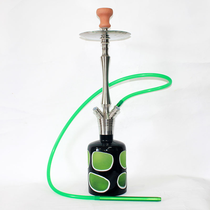 WY-SS011 High quality hookah shisha stainless steel water pipe with heavy glass vase