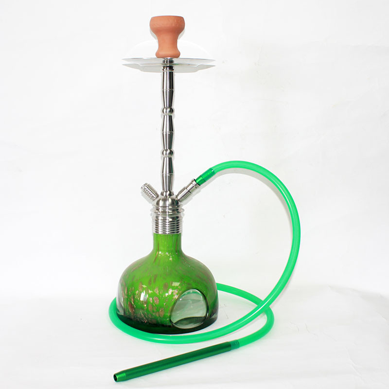 WY-SS018 Special design glass base hookah stainless steel shisha pipes