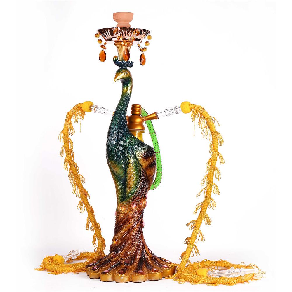 WY-180 Deluxe led peacock shisha 2 pipe multi hose animal hookah