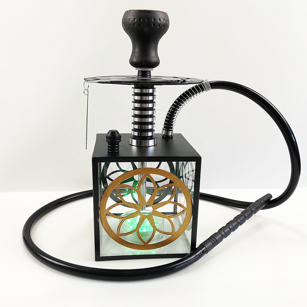 WY-AC102 Square hookah flavour factory wholesale shisha light led hookah with hollow carbon plate