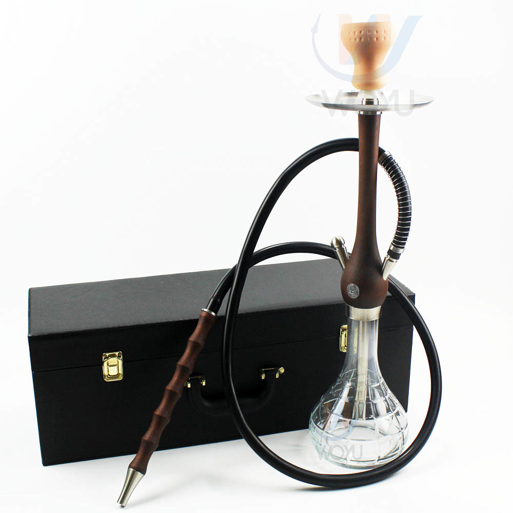 WY-W14 wooden hookah 55cm glass shisha with suicasetobacco wood shisha accessories
