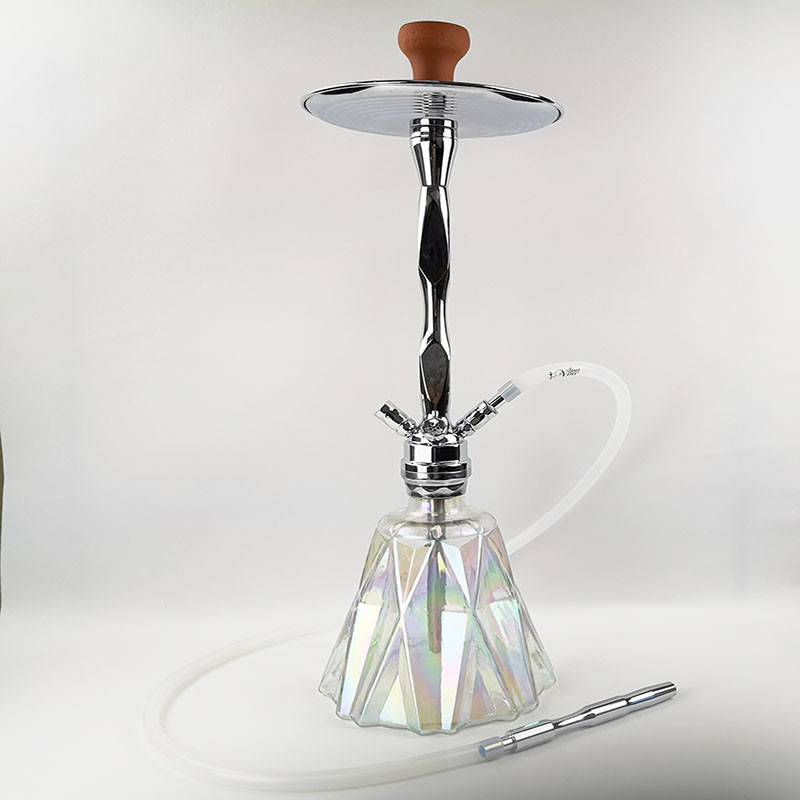 WY-S207 Diamond shaped heavy glass bottle zinc alloy shisha hookah