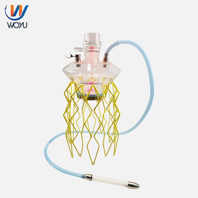 Wholesale jellyfish hookah shisha metal stand glass vase led waterpipe